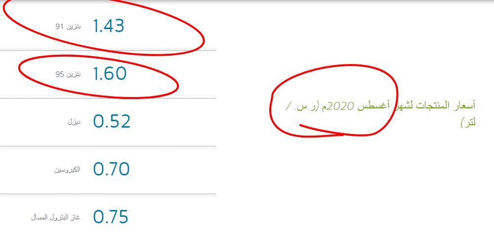 ارامكو تعلن اسعار البنزين_www.saudiaramco.com